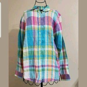 Lauren Ralph Lauren 100% Linen Button Front Blouse